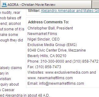 Agora review on Christian movie guide - protest instructions