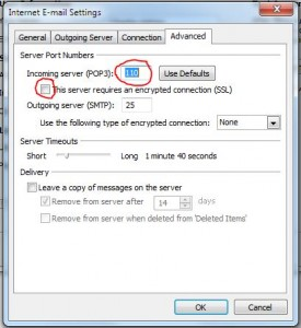 Insecure POP3 email connection in Office 2010